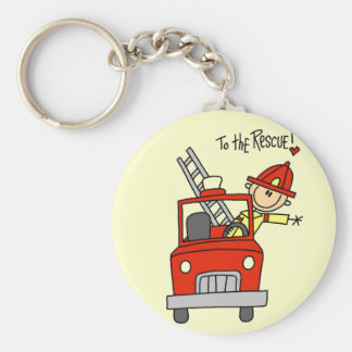 Stick Figure Firefighter to the Rescue Basic Round Button Key Ring