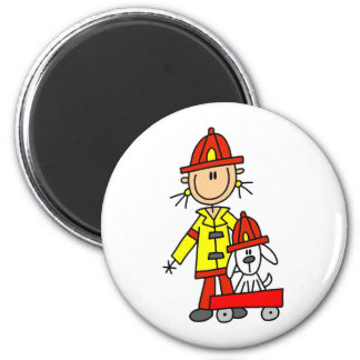 Stick Figure Firefighter with Dalmation Magnet