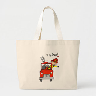 Stick Figure Firefighter with Fire Engine Bags