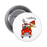 Stick Figure Firefighter with Fire Engine Button