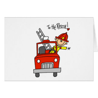 Stick Figure Firefighter with Fire Engine Cards