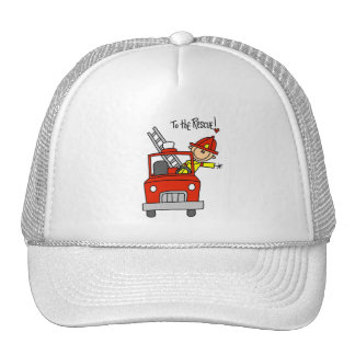 Stick Figure Firefighter with Fire Engine Hat