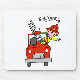 Stick Figure Firefighter with Fire Engine Mousepad