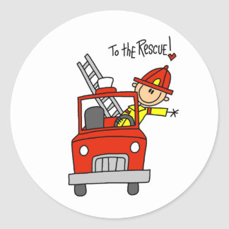 Stick Figure Firefighter with Fire Engine Stickers