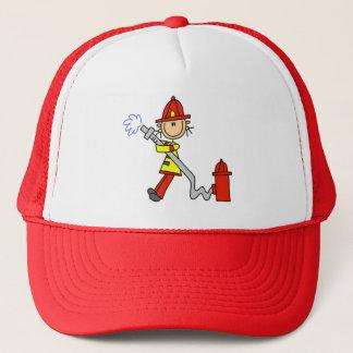 Stick Figure Firefighter with Hose Cap