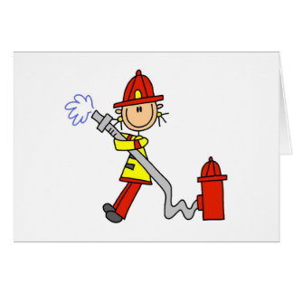 Stick Figure Firefighter with Hose Cards