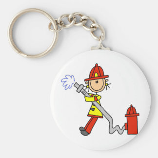 Stick Figure Firefighter with Hose Key Ring