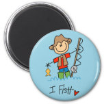 Stick Figure Fisherman Magnet