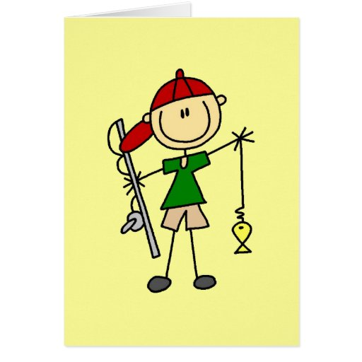 Stick Figure Fishing Tshirts and Gifts Cards