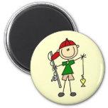 Stick Figure Fishing Tshirts and Gifts Fridge Magnet