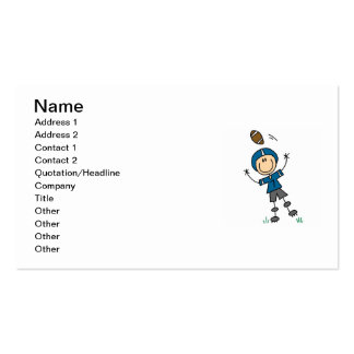 Stick Figure Football Blue Business Cards