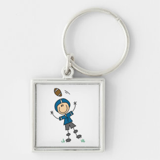 Stick Figure Football Blue Silver-Colored Square Key Ring