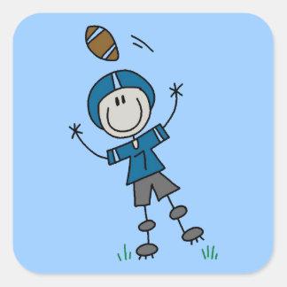 Stick Figure Football Blue Square Sticker
