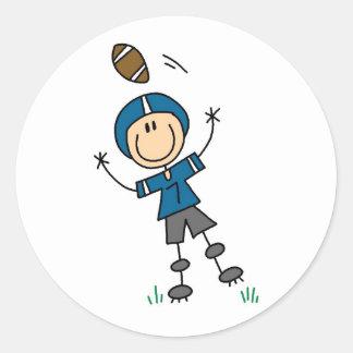 Stick Figure Football Blue Round Stickers