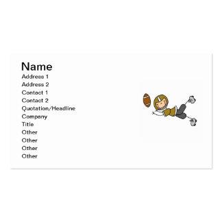 Stick Figure Football Gold Business Card Template