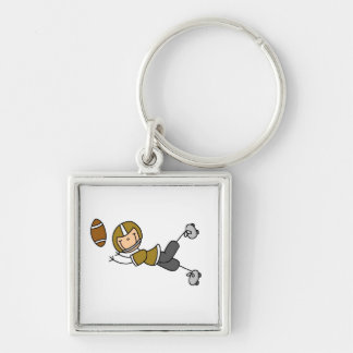 Stick Figure Football Gold Silver-Colored Square Key Ring