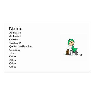 Stick Figure Football Green Business Cards
