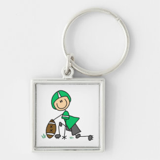 Stick Figure Football Green Silver-Colored Square Key Ring