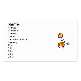 Stick Figure Football Orange Business Card Templates