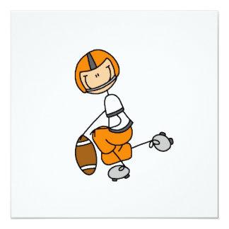 Stick Figure Football Orange 13 Cm X 13 Cm Square Invitation Card