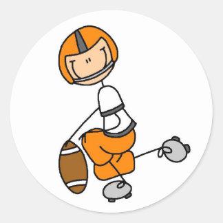 Stick Figure Football Orange Round Stickers
