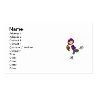 Stick Figure Football Purple Business Card Templates