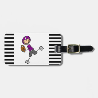 Stick Figure Football Purple Luggage Tag