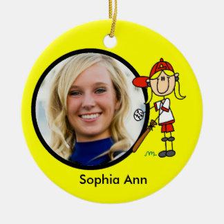 Stick Figure Girl Baseball Player Ornament