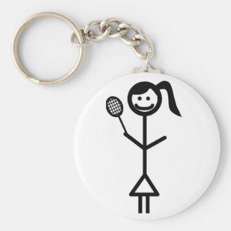 Stick Figure Girl Basic Round Button Key Ring