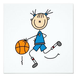 Stick Figure Girl Basketball Player Tshirts 13 Cm X 13 Cm Square Invitation Card