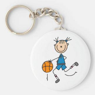 Stick Figure Girl Basketball Player Tshirts Basic Round Button Key Ring