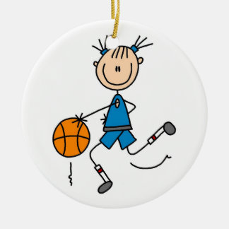 Stick Figure Girl Basketball Player Tshirts Christmas Ornament