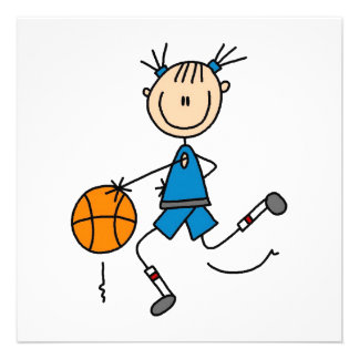 Stick Figure Girl Basketball Player Tshirts Announcement