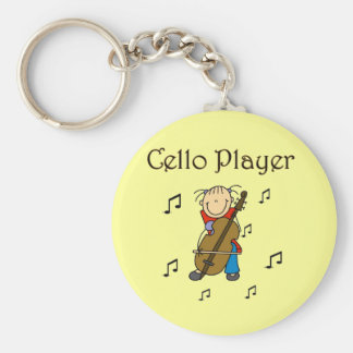 Stick Figure Girl Cello Player T-shirts and Gifts Basic Round Button Key Ring
