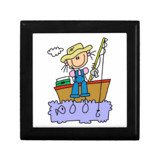 Stick Figure Girl Fishing Small Square Gift Box