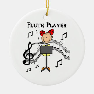 Stick Figure Girl Flute Player Tshirts and Gifts Christmas Ornament