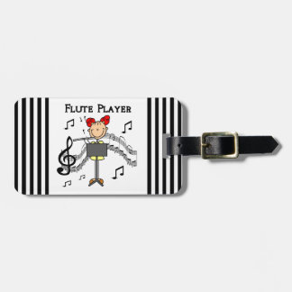 Stick Figure Girl Flute Player Tshirts and Gifts Luggage Tag