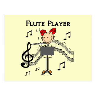 Stick Figure Girl Flute Player Tshirts and Gifts Postcard
