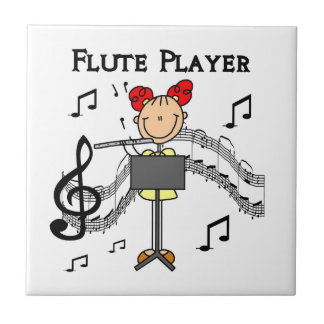 Stick Figure Girl Flute Player Tshirts and Gifts Small Square Tile