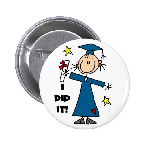 Stick Figure Girl Graduate T-shirts and Gifts Pinback Button