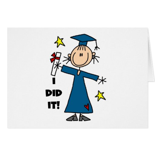 Stick Figure Girl Graduate T-shirts and Gifts Card