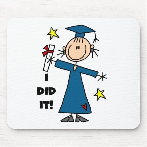 Stick Figure Girl Graduate T-shirts and Gifts Mousepads