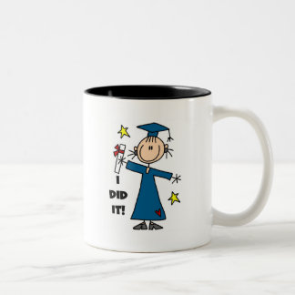 Stick Figure Girl Graduate T-shirts and Gifts Two-Tone Coffee Mug