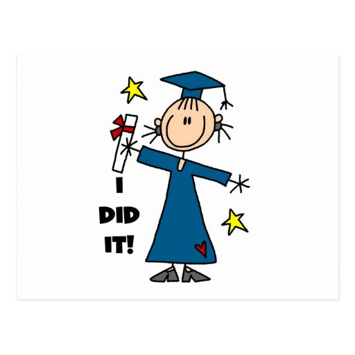 Stick Figure Girl Graduate T-shirts and Gifts Post Card
