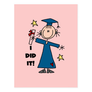 Stick Figure Girl Graduate T-shirts and Gifts Postcard