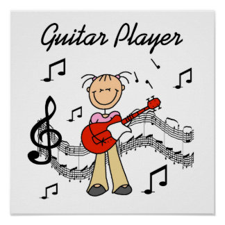 Stick Figure Girl Guitar Player T-shirts and Gifts Poster