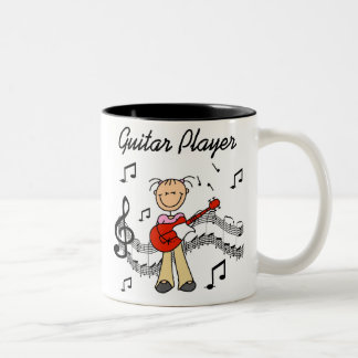 Stick Figure Girl Guitar Player T-shirts and Gifts Two-Tone Coffee Mug