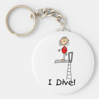 Stick Figure Girl I Dive Basic Round Button Key Ring