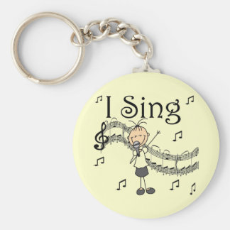Stick Figure Girl I Sing T-shirts and Gifts Basic Round Button Key Ring