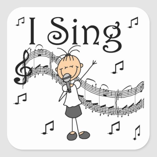 Stick Figure Girl I Sing T-shirts and Gifts Square Sticker